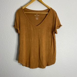 American Eagle Soft&Sexy Brown cuffed tee